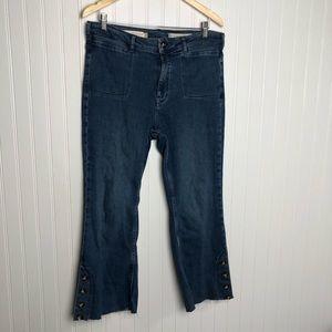 Anthropologie pilcro hi rise bootcut raw hem jeans